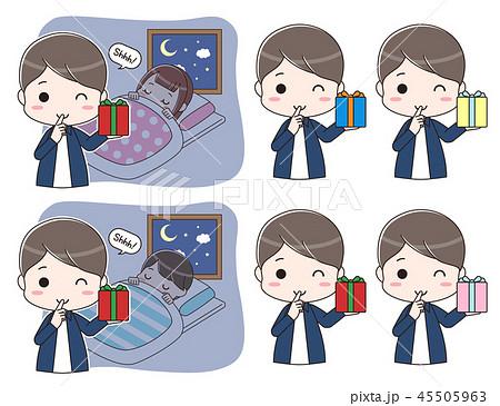 寝ている子供にプレゼントを置きに来たお父さんのセット 45505963