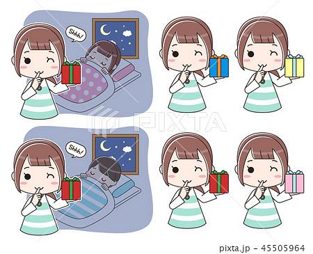 寝ている子供にプレゼントを置きに来たお母さんのセット 45505964