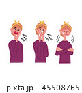 インフルエンザ 風邪 白バックのイラスト 45508765