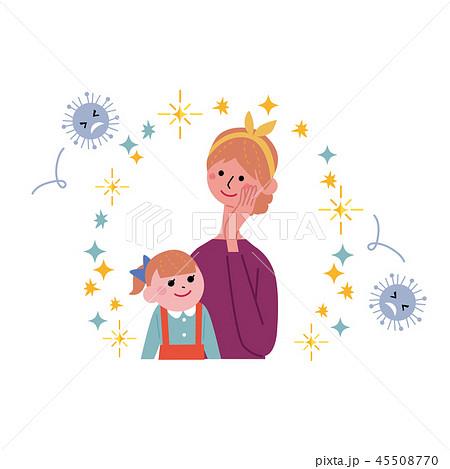 ばい菌から身を守る親子 インフルエンザ バリア イラスト 45508770
