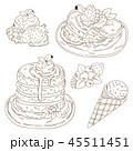 パンケーキ ホットケーキ デザートのイラスト 45511451