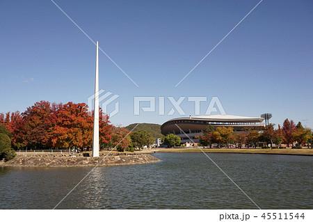 紅葉の美しい秋の岡山県総合グラウンド:スポーツの塔と陸上競技場 45511544