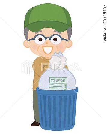 ゴミを捨てる中年男性 45519157