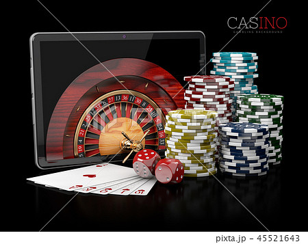 Casino background with tablet, dice, cards 45521643