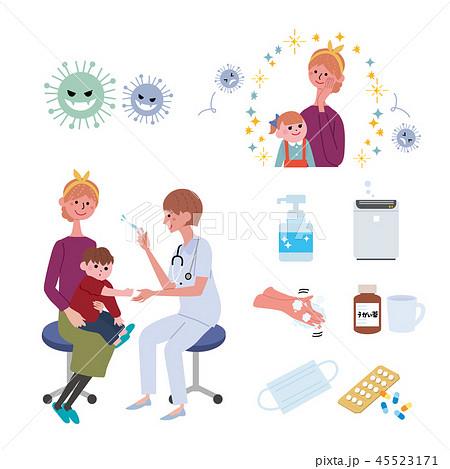インフルエンザ 予防接種 イラスト セット 45523171