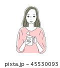女性 飲み物 休憩のイラスト 45530093