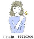 女性 肩こり 痛いのイラスト 45530209