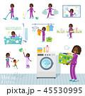 女性 黒人 家事のイラスト 45530995