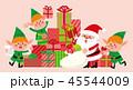 「サンタクロースと妖精とクリスマスのプレゼント」ベクター素材 45544009