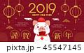 2019 中国新年 中国正月のイラスト 45547145