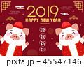2019 中国新年 中国正月のイラスト 45547146