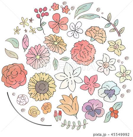 様々な花のイラストのセット 水彩風 のイラスト素材