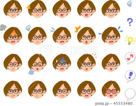 眼鏡をかけた女性の20種類の表情 会社員 キャリアウーマン 秘書 45553480