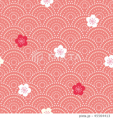 パターン 花柄 和柄 波柄 梅と波柄 朱 45564413