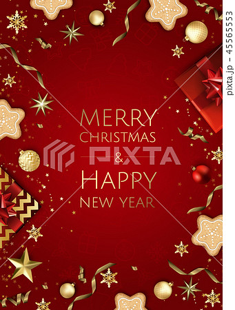 Christmas bright background with golden Xmas decorations. Merry christmas greeting card. 45565553
