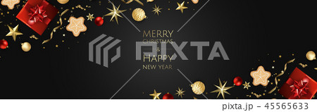Christmas vector background. Design greeting card, banner, poster. Top view gift box, xmas 45565633