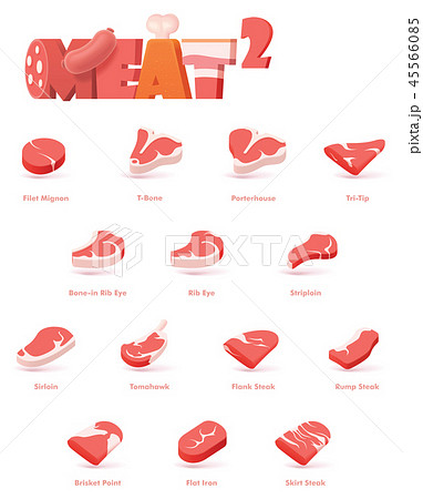 Vector beef meat cuts for steaks 45566085
