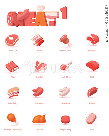 Vector meat icon set 45566087