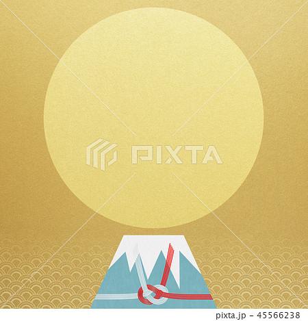和-背景-富士山-日の出-和風-和柄-正月-年賀-水引 45566238