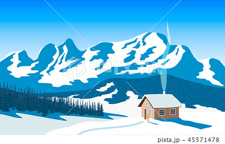 Winter mountains landscape with house, skies,  45571478