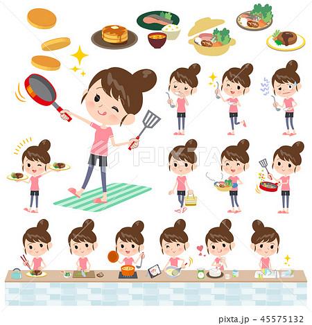 Bun hair mom sportswear_cooking 45575132