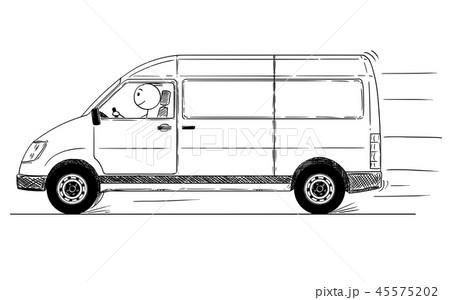 Cartoon of Fast Driving Generic Delivery Van 45575202