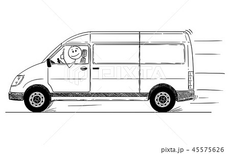Cartoon of Driver of Generic Delivery Van Showing Thumbs Up 45575626
