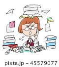 女性 激務 仕事のイラスト 45579077