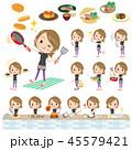 女性 スポーツウエア 料理のイラスト 45579421