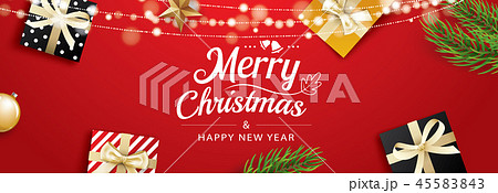 Christmas greeting card with gift boxes on red 45583843
