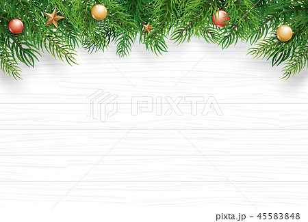 Christmas with fir branch on white wooden 45583848