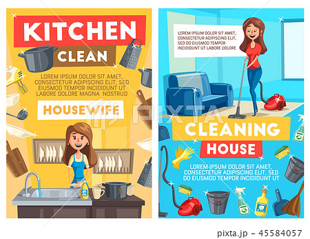 Cleaning and dishwashing service, cartoon vector 45584057
