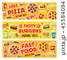 Pizza, burgers and fast food meals, vector 45584094