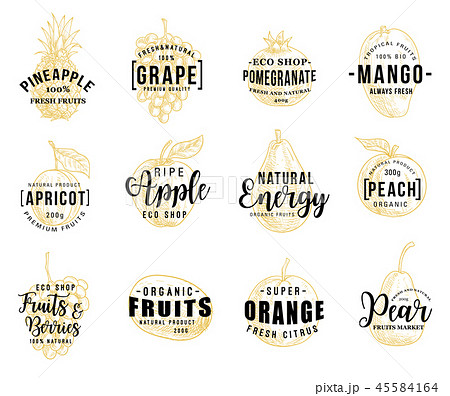Fruits and berry lettering icons 45584164