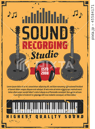 Sound recording studio and musical instruments 45584171