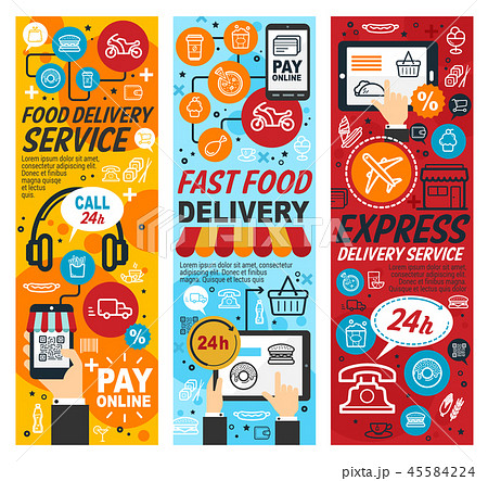 Fastfood express delivery service, vector 45584224