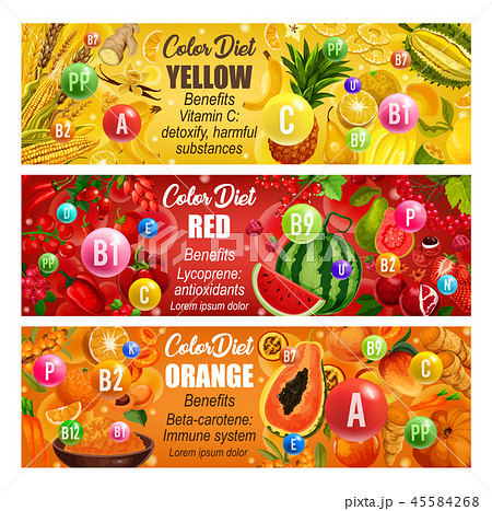 Vitamin in fruits and veggies. Color diet days 45584268