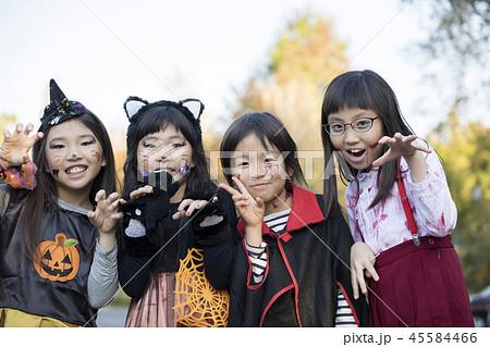 ハロウィンイメージ 仮装した小学生女の子たち 45584466