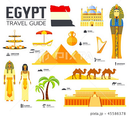 Country Egypt travel vacation guide of goods, places and features. Set of architecture, people 45586378