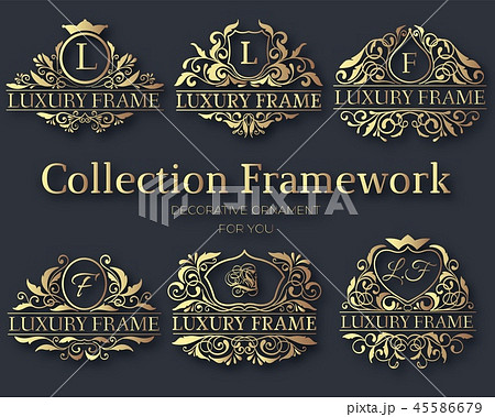 Luxury label or King place symbol element with decorative calligraphy object set. Template for 45586679