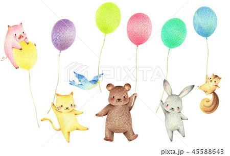 風船を持った動物のイラスト素材 45588643 Pixta
