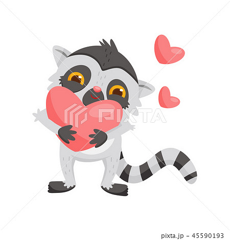 Adorable enamored lemur holding big pink heart in paws. Exotic animal with long tail. Flat vector 45590193