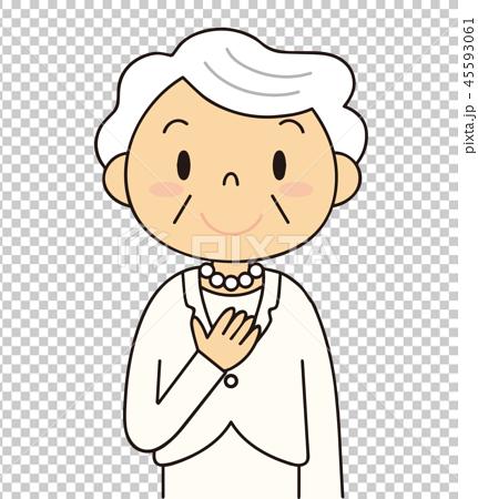 シニア 笑顔のおばあちゃん 白いスーツ 冠婚葬祭 45593061