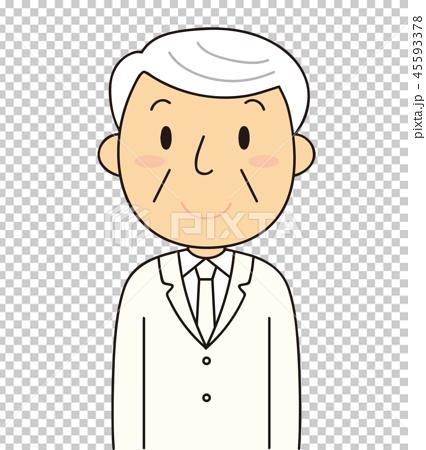 シニア 笑顔のおじいちゃん 白いスーツ 冠婚葬祭  45593378