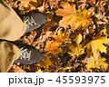 Male standing on autumn leaves in suede shoes 45593975