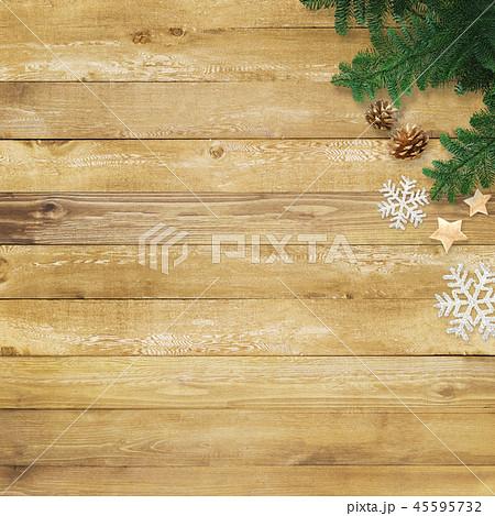 背景-木目-クリスマス-飾り 45595732