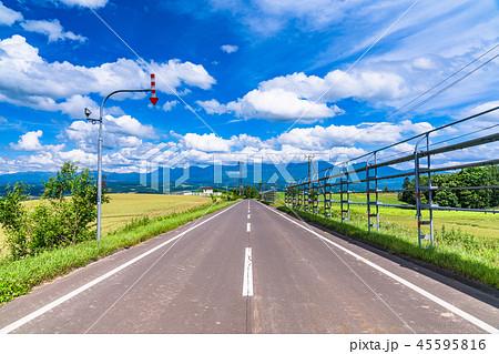 《北海道》上富良野・夏空の一本道 45595816