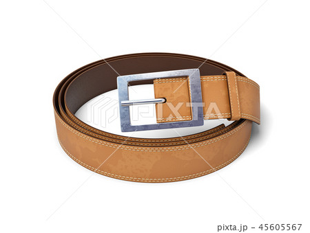 3d rendering of brown leather belt with metal buckle rolled up isolated on white background 45605567