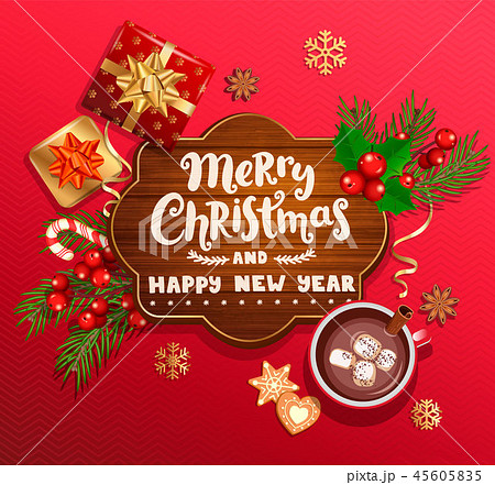 Merry Christmas and New Year wishing card 45605835