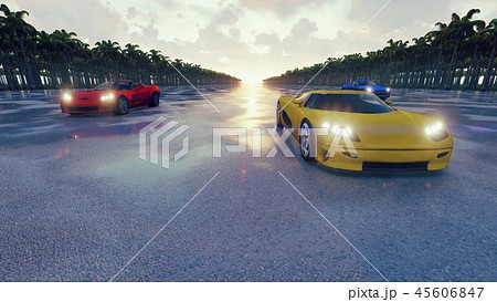Race sports cars at sunset in the tropics. 3D Rendering 45606847